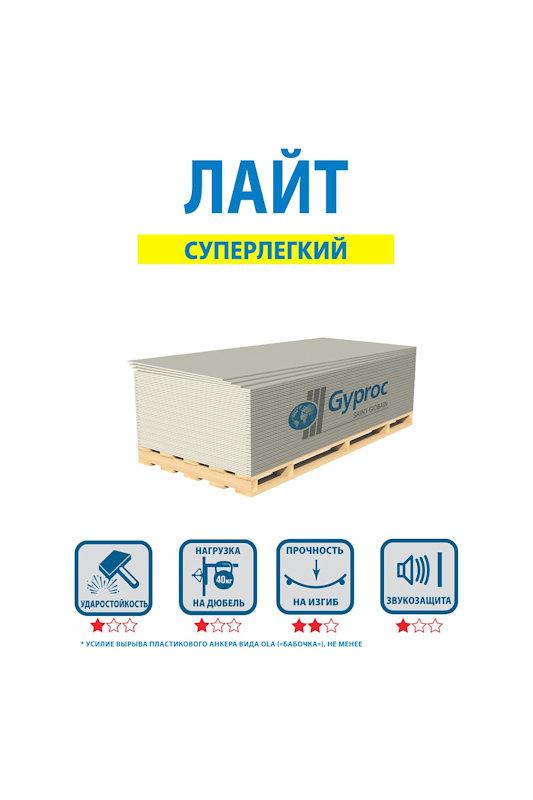 Гипсокартон Gyproc Лайт 2500*1200*9,5 мм